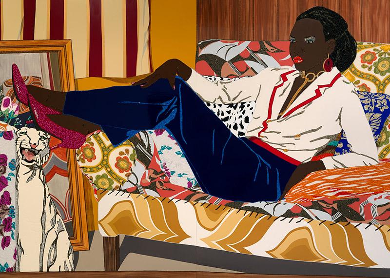 Exhibition details for: Mickalene Thomas, Portrait of Mnonja, 2010